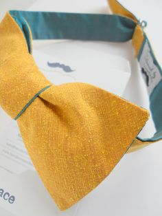 Raw Mustard Silk Bow Tie with Teal Silk Reverse by HandsomeAndLace