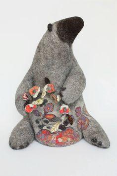 needle felted bear by Irina Andreeva