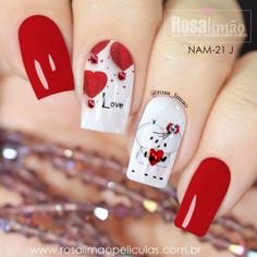 The Best Nail Art Designs – Your Beautiful Nails Valentine's Day Nail Designs, Short Nail Designs, Nails Design, Red Nail Art, Valentine Nail Art, Heart Nails, Super Nails, Gorgeous Nails, Blue Nails