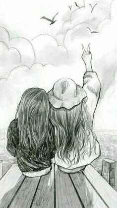 Best friend drawings that are easy to draw - yahoo image search Easy Pencil Drawings, Art Drawings Sketches Simple, Girl Drawing Sketches, Girly Drawings, Cute Drawings Of Girls, Pencil Sketch Drawing, Cool Sketches, Drawing Art, Pencil Sketches Simple