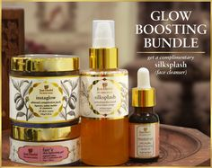 The Ayurvedic Glow Boosting Bundle contains four of our most effective products; hand-picked from our much raved about 6-Step Regime known for bringing about startling results to the most dull, ageing and/or pigmented skin.  #glowup #glow #glowkit #ayurvedalife #ayurvedic #herbalism #organic #skincare #skincarejunkie #beautycommunity #beauty #beautybloggers #bbloggers #beautifulskin