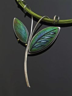 2 Leaf Pendant Series - Sterling Silver and Hand Colored Polymer Clay www.gracestokesdesigns.com