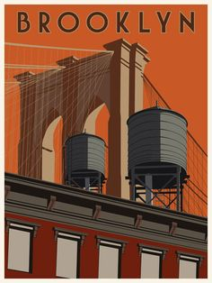 Brooklyn Poster. solid colour. very plain and very geometrical. the shadows on the left side of the page suggets that the light/sun is coming from the right. te stacked building in the front represents the brooklyn street/city scenery.