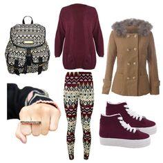 bag winter outfits college coat fur aztec pattern leggings burgundy sweater pants