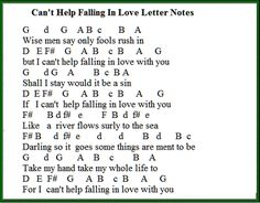 Can't Help Falling In Love letter notes for musicians learning this song