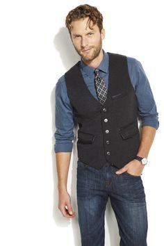 Leather trim on a menswear vest is so #RockRepublic. #Kohls