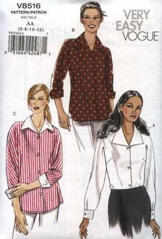 Vogue Sewing Pattern 8516 Misses Sizes 6-8-10-12 Easy Button Front Dolman  Sleeve Shirts 8ab8a5731
