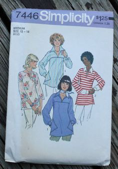 Simplicity 7446 1970s 70s Tunic Blouse Top Shirt Vintage Sewing Pattern Size 12-14 Bust 34-36