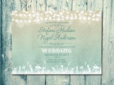 Set of 100 - Shade - Landscape Romantic Light Garland Wedding Invitation and Reply Card Set - Wedding Stationery - ID127NGR