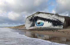 Eye Street Art Piece on a French Beach and What's Trending Now in Art