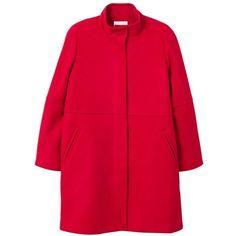 MANGO Straight-cut wool coat ($150) ❤ liked on Polyvore featuring outerwear, coats, mango coats, woolen coat, red wool coat, red turtleneck and wool coats