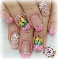 Butterfly Nail Designs, Nail Art Designs, Golden Nails, Gorgeous Nails, Cute Nails, You Nailed It, Pedicure, Ideas Para, Amanda