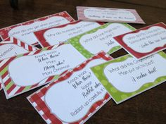 Free Printable 'Elf on the Shelf' Joke Cards *Updated* -- would make fun gift tags too!