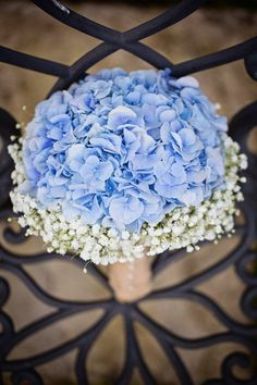 Blue hydrangea and baby's breath bouquet