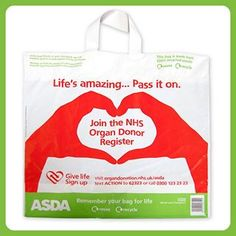 Asda's new bag for life, supporting national transplant week xxx