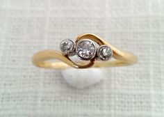 Antique 1918 Edwardian/Art Deco 18K Gold, Diamond Trilogy Ring Stamped 4/22/1918 - Engagement / Wedding / Anniversary Ring