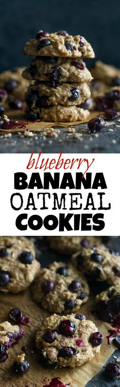 Blueberry Banana Oatmeal Cookies - deliciously healthy vegan cookies that are LOADED with blueberry flavour in each bite Healthy Vegan Cookies, Healthy Cookie Recipes, Healthy Treats, Baking Recipes, Diabetic Desserts, Healthy Baking, Diabetic Recipes, Vegan Recipes, Vegan Blueberry