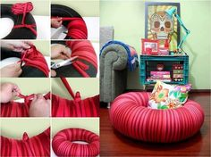 DIY- Comfy Tire Pouf Chair - http://www.amazinginteriordesign.com/diy-comfy-tire-pouf-chair/