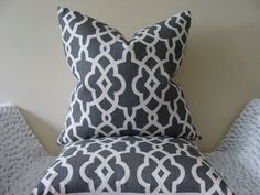 """Schumacher Summer Palace Fret in Smoke - 20"""" x 20"""" Decorative Designer Pillow Covers on Etsy, $58.00"""