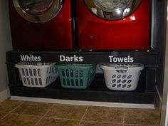 Laundry Pedestal DIY. Much cheaper than buying the GE ones for our front loading machines!
