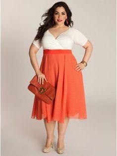 Rita Vintage Polka Dot Plus Size Dress in Coral - Dresses by IGIGI