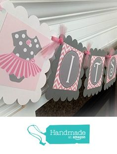 Tutu Onesie Baby Shower Banner - Light Pink Chevron and Polka Dots & Gray and White Accents - Party Packs Available from Emerald City Paperie http://www.amazon.com/dp/B01BXFYVNM/ref=hnd_sw_r_pi_dp_bhe.wb072HASG #handmadeatamazon