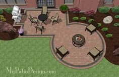 Rectangle Patio Design with Circle Fire Pit Area – http://MyPatioDesign.com