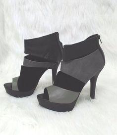 Qupid Sz 7 Black Gray Gaze 29X Velvet Ankle Zip Open Toe High Heels  #Qupid #OpenToe #Casual