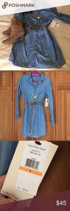 NWT Calvin Klein Chambray Shirt Dress Size S Adorable Calvin Klein Denim Shirt Dress. Perfect for this fall with a pair of Booties!  Wear on its own or over leggings. So many ways to wear this dress!  Must have for every wardrobe!! Calvin Klein Dresses Long Sleeve