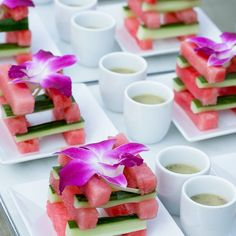 Cucumber and watermelon salad pretty and delish#elegantaffairs #nyccaterer #hamptomscaterer