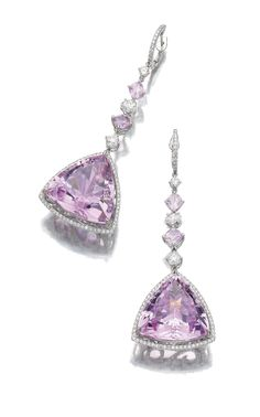 Pair of kunzite, spinel and diamond pendent earrings, Michael Youssoufian Each featuring a triangular kunzite within a border of brilliant-cut diamonds, suspended from an alternating line of cushion-shaped spinels, brilliant-cut and oval diamonds.