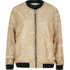 River Island Gold embellished bomber jacket ($79) ❤ liked on Polyvore featuring outerwear, jackets, bomber jacket, coats / jackets, gold, women, river island, flight jacket, sequin jacket and embellished jackets