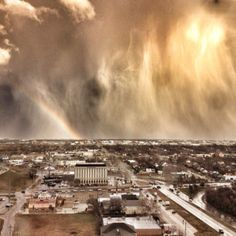 Oklahoma City while one of their thunderstorms is leaving.... Love me some Oklahoma T-Storms :)