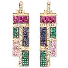 Wilfredo Rosado Mondrian-Inspired Earrings set with emeralds, rubies, diamonds and sapphires