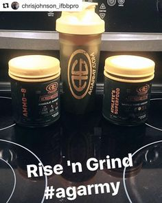"Another example of the ""rise 'n grind"" stack. 1 scoop AMMO-8 essential amino acids and 1 scoops Athletes Superfood. You can sub the AMMO-8 out for 15 grams of easily digesting protein...but why would you want to? (Hint: the 3 BCAAs leucine isoleucine and valine are NOT the same thing as taking in protein or essential amino acids.) . #Repost @chrisjohnson_ifbbpro  How did you start your morning? I began with a Superfood/AMMO-8 drink a Flash Bang and 30 minutes of cardio. .  14 weeks out from…"