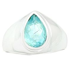 Faceted Aquamarine 925 Sterling Silver Ring Jewelry s.6.5 AQFR658