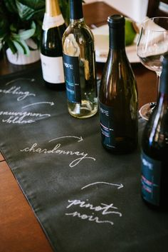 This is a great idea for a wine party. Use a wine runner so guests can easily see the wines you are serving. #entertaining