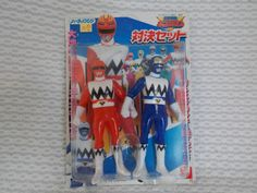 1998 Power Rangers Lost Galaxy Gingaman Red & Blue Ranger Figure YUTAKA (Bandai) #Bandai