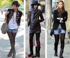 O short jeans com meia calça e botas são sempre uma boa pedida para a moda feminina no inverno, confira!