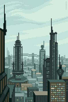 Future City pixel art by @Planet Mazeon