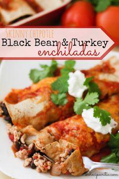 Skinny Chipotle Black Bean & Turkey Enchiladas