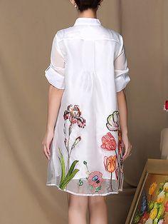 MULTIFLORA Half Sleeve Floral Swing Embroidered Casual Midi Dress