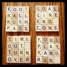 Are you ready for some FOOTBALL? Fun drink coasters for game day parties. Scrabble Letter Crafts, Scrabble Coasters, Scrabble Letters, Scrabble Tiles, Tile Coasters, Drink Coasters, Scrabble Ornaments, Fabric Coasters, Gifts For Football Fans