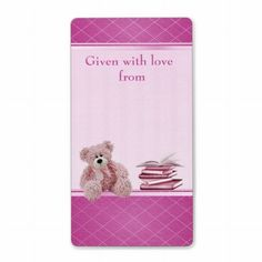Pink Teddy Bring a Book Baby Shower Bookplates Personalized Shipping Label