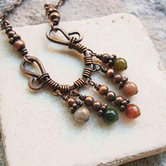 Jasper Dangles Wire Wrapped hammered copper necklace with fancy jasper stone beads