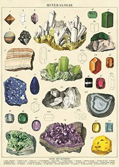 Mineralogie / french vintage science poster / minerals crystals science poster print / pull down chart minerals gemstone Posters Vintage, Vintage Prints, Vintage Style, Vintage Inspired, Retro Posters, Antique Prints, Vintage Beauty, French Vintage, Impressions Botaniques