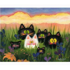 Herd of Kitties — Matted Print