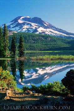 Majestic and imposing, South Sister casts her reflection over the peaceful waters of Sparks Lake in the Central Oregon Cascades. Oregon Vacation, Oregon Road Trip, Oregon Travel, Living In Portland Oregon, Central Oregon, Oregon Mountains, Cascade Mountains, Snowy Mountains, St Helens Oregon
