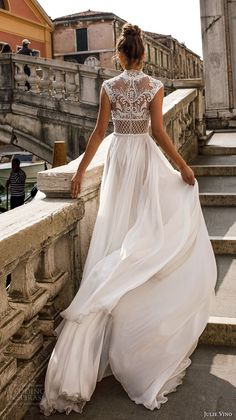 julie vino spring 2018 bridal sleeveless illusion high neck sweetheart neckline heavily embellished bodice flowy skirt romantic sexy a line wedding dress covered lace back chapel train (01) bv -- Julie Vino Spring 2018 Wedding Dresses