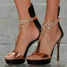 Shoespie T Shape Rhinestone Platform Dress Sandals